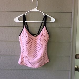 Mirclesuit Pale Pink & Black Tankini Swim Top